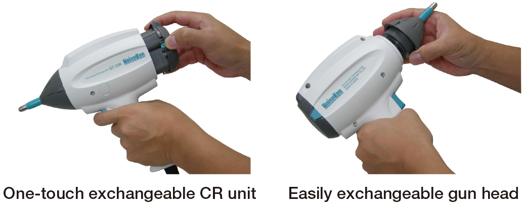 One-touch exchangeable CR unit. Easily exchangeable gun head.
