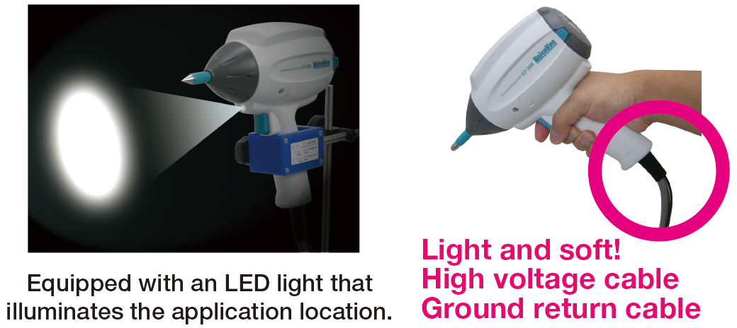 Equipped with an LED light that illuminates the application location. Light and soft! High voltage cable and Ground return cable.